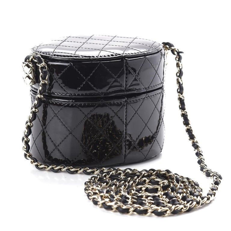 Chanel Micro Mini Black Quilted Patent Leather Jewelry Box Crossbody Bag For Sale 5