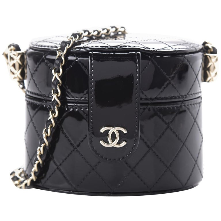 Chanel Micro Mini Black Quilted Patent Leather Jewelry Box Crossbody Bag For Sale
