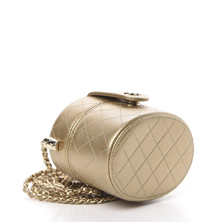 Chanel Micro Mini Gold Quilted Lambskin Leather Jewelry Box Crossbody Bag In Excellent Condition For Sale In Miami, FL