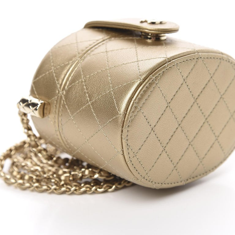 Chanel Micro Mini Gold Quilted Lambskin Leather Jewelry Box Crossbody Bag For Sale 1