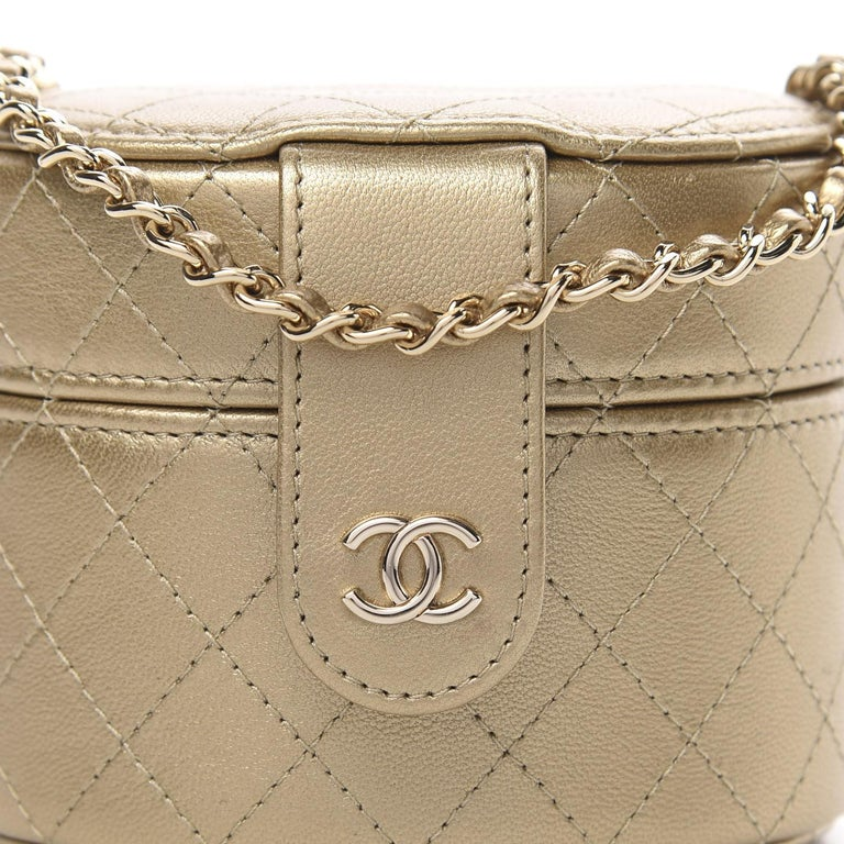 Chanel Micro Mini Gold Quilted Lambskin Leather Jewelry Box Crossbody Bag For Sale 3