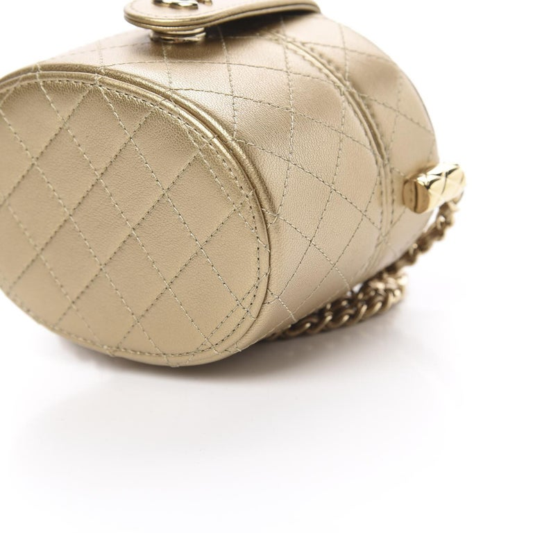 Chanel Micro Mini Gold Quilted Lambskin Leather Jewelry Box Crossbody Bag For Sale 4