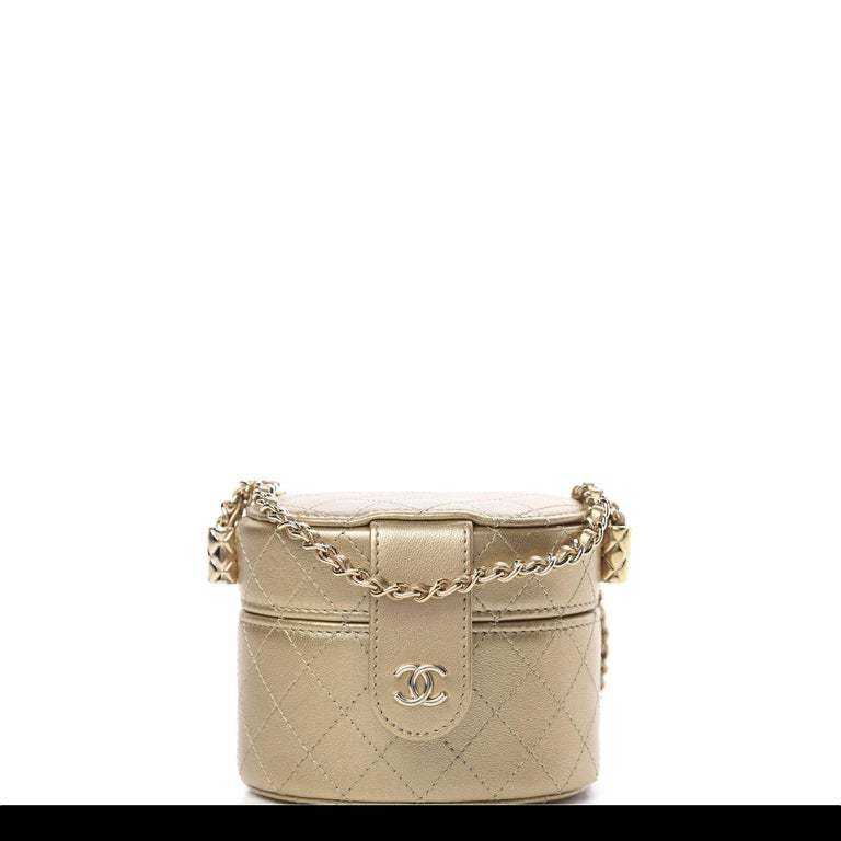 Chanel Micro Mini Gold Quilted Lambskin Leather Jewelry Box Crossbody Bag For Sale 5