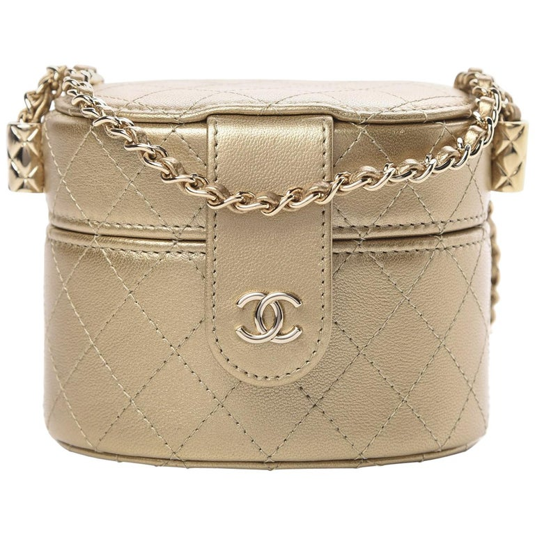 Chanel Micro Mini Gold Quilted Lambskin Leather Jewelry Box Crossbody Bag For Sale