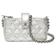 Chanel micro  silver calf leather shoulder bag
