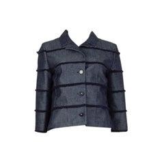 CHANEL midnight blue cotton Denim FRINGED Blazer Jacket 38 S