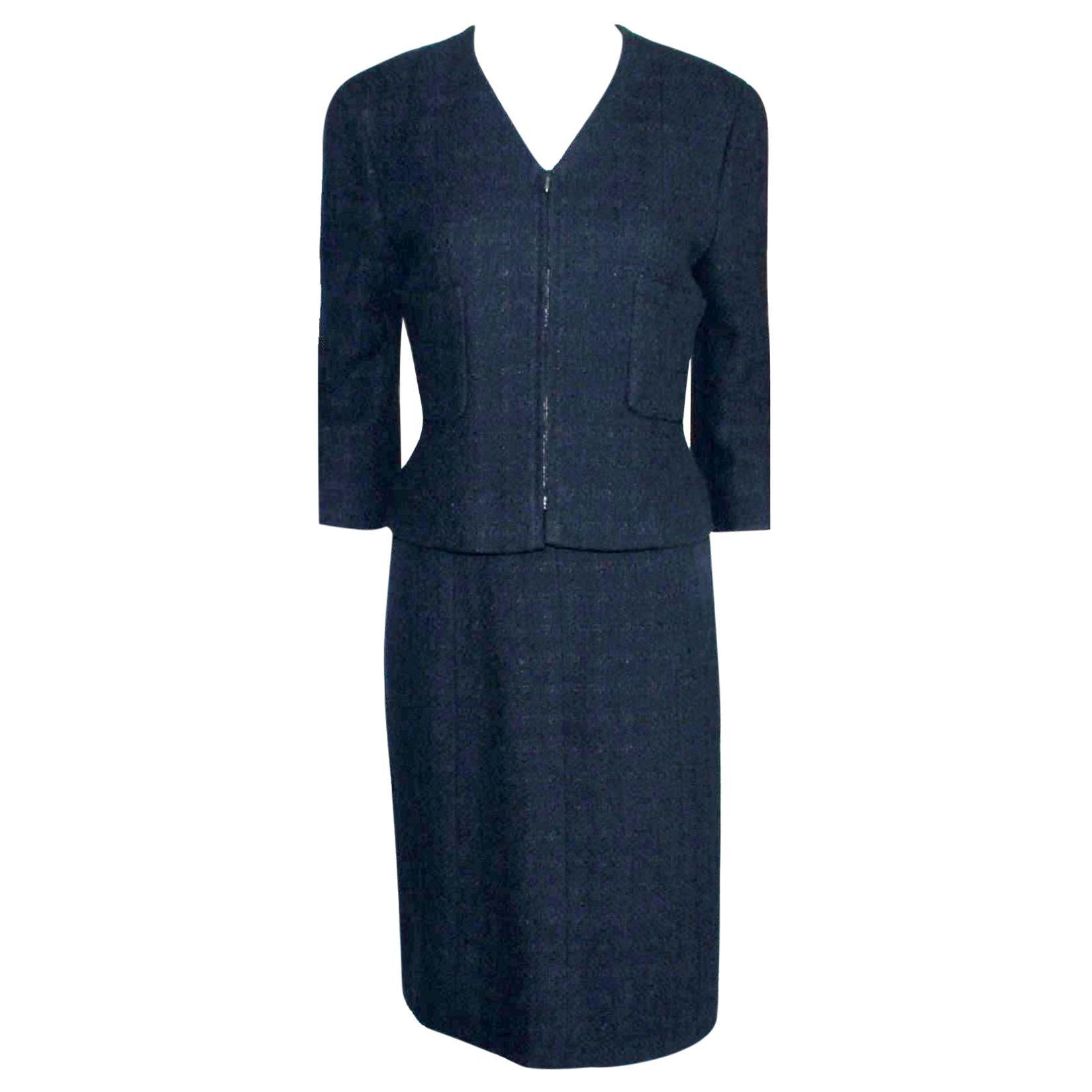 Chanel Midnight Blue Maison Lesage Tweed Jacket Skirt Suit