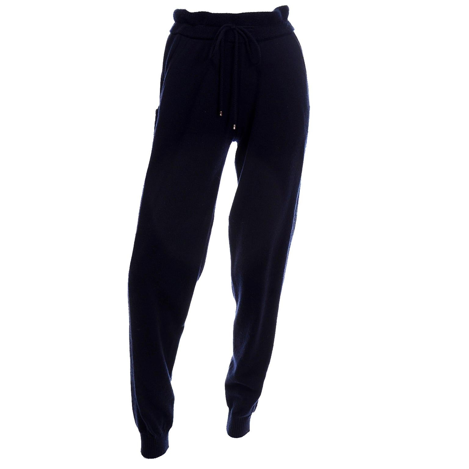 Chanel Midnight Navy Blue Cashmere Jogger Style Drawstring Knit Pants