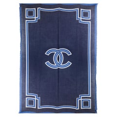 CHANEL midnight & royal blue cashmere CC Fringed Shawl Scarf