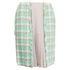 CHANEL min green beige cotton & silk BOX PLEATE Tweed Skirt 36 XS