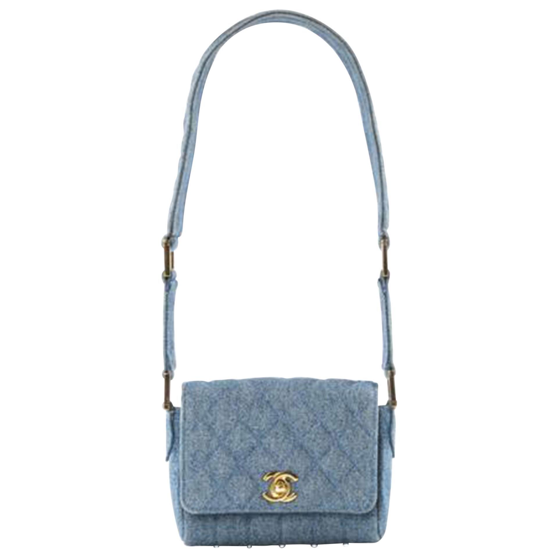 Chanel Minaudière Classic Flap 90s Vintage Runway Micro Mini Jean Blue Denim Bag