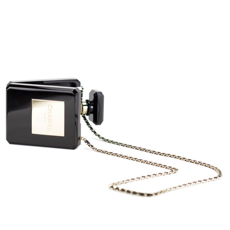 Women's or Men's Chanel Minaudière Clutch Perfume Bottle Limited Edition Black Plexiglass Bag For Sale