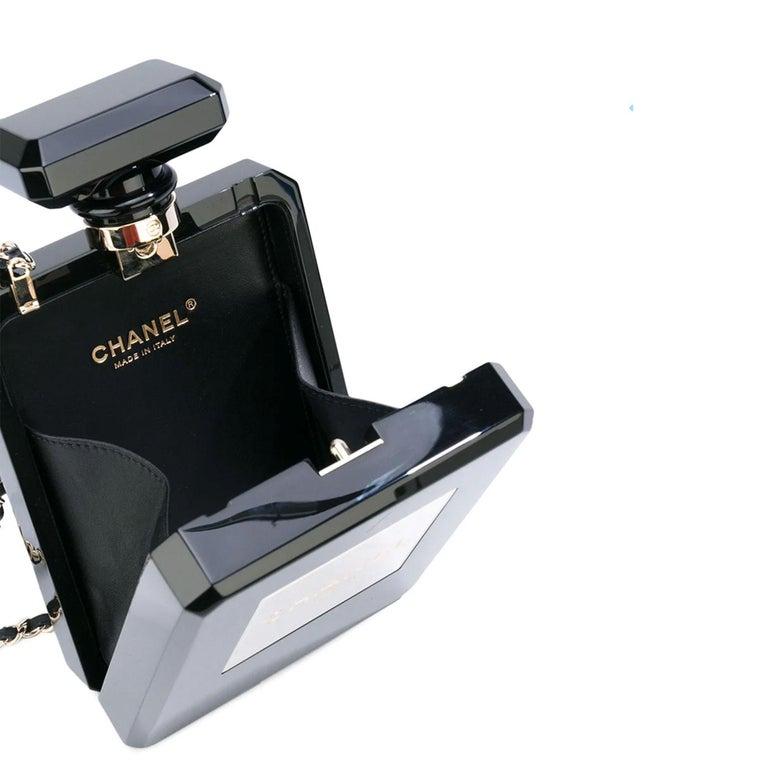 Chanel Minaudière Clutch Perfume Bottle Limited Edition Black Plexiglass Bag For Sale 2