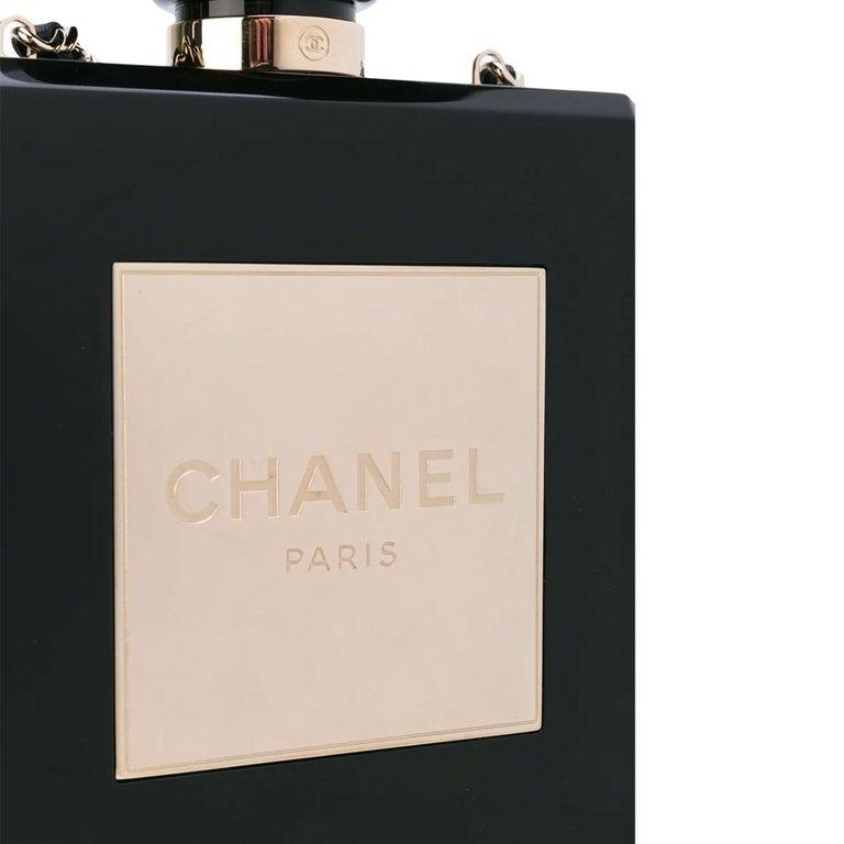 Chanel Minaudière Clutch Perfume Bottle Limited Edition Black Plexiglass Bag For Sale 3