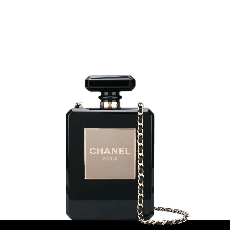 Chanel Minaudière Clutch Perfume Bottle Limited Edition Black Plexiglass Bag For Sale 4