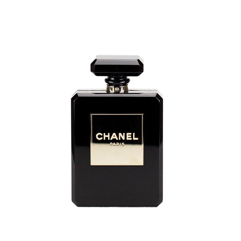 Chanel Minaudière Clutch Perfume Bottle Limited Edition Black Plexiglass Bag For Sale 5