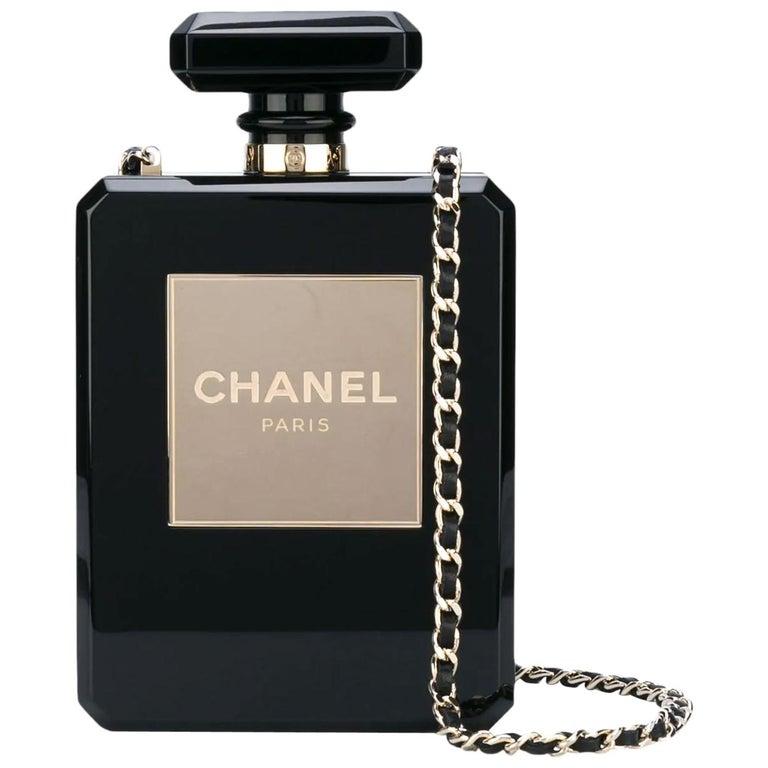 Chanel Minaudière Clutch Perfume Bottle Limited Edition Black Plexiglass Bag For Sale