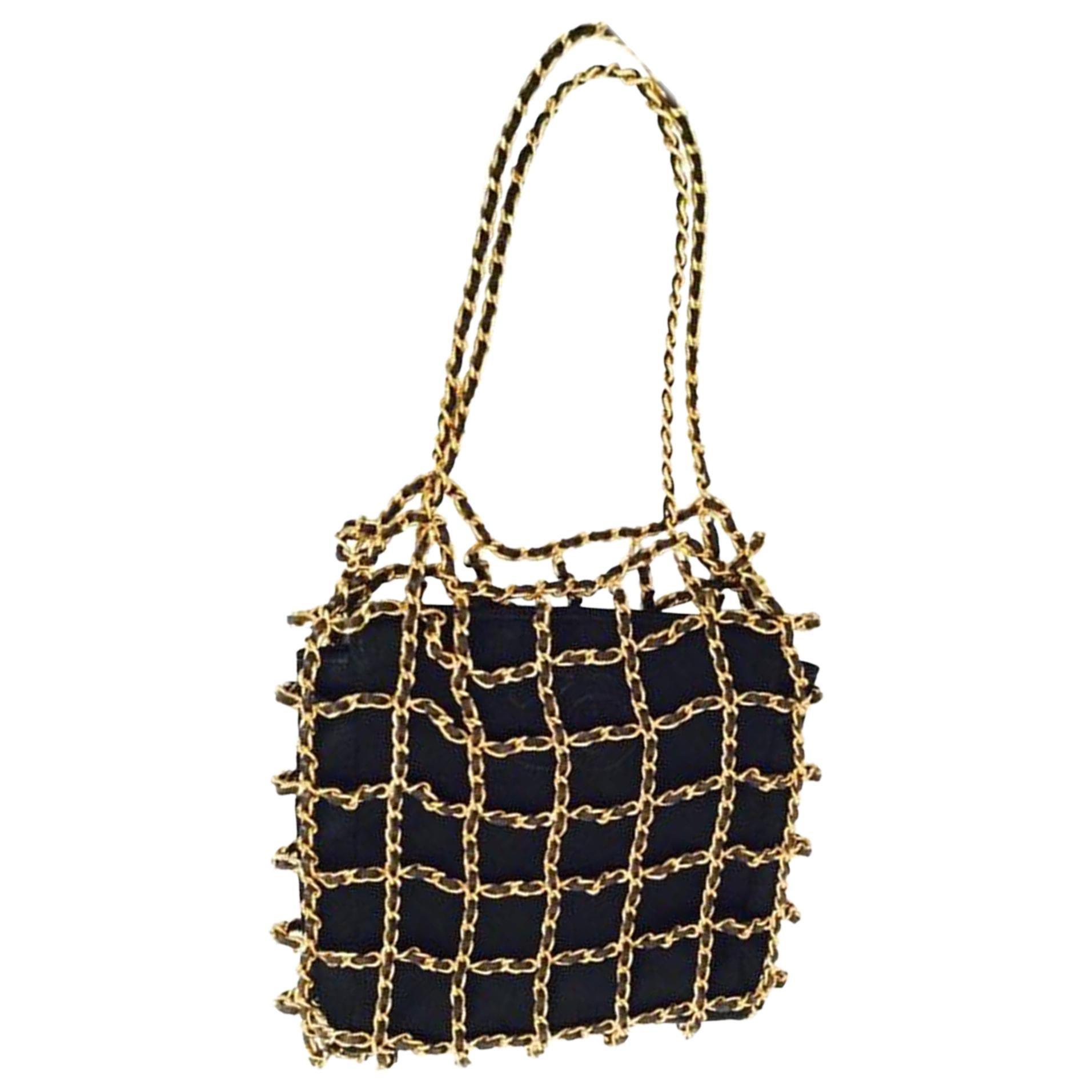 Chanel Minaudière Clutch Rare Vintage Micro Mini Woven Chain Black Satin Satchel
