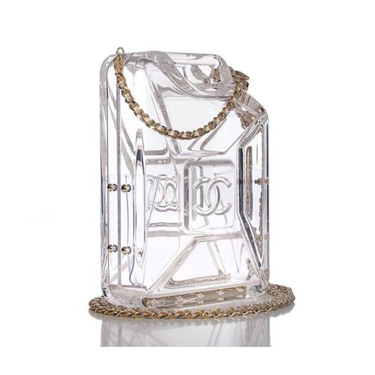 Gray Chanel Minaudière Gasoline Clear Ghw Plexiglass Clutch For Sale