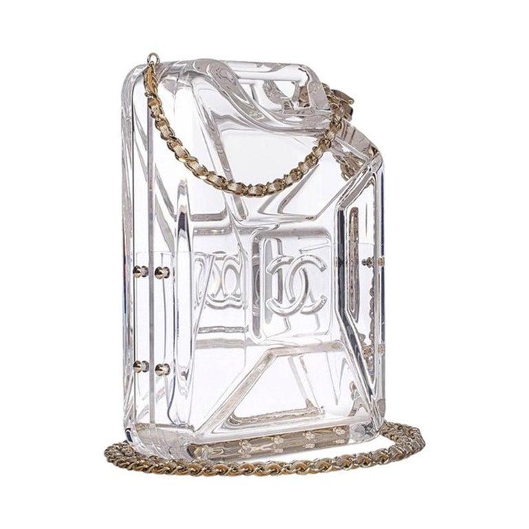 Chanel Minaudière Gasoline Clear Ghw Plexiglass Clutch In Good Condition For Sale In Miami, FL