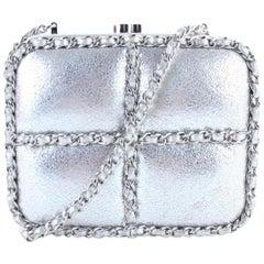 Chanel Minaudière Metallic 1cr0115 Silver Leather Cross Body Bag