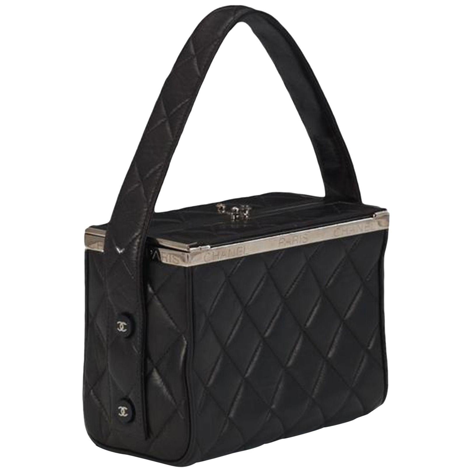 Chanel Minaudière Tote Bag Clutch Mini Vanity Black Calfskin Leather Satchel