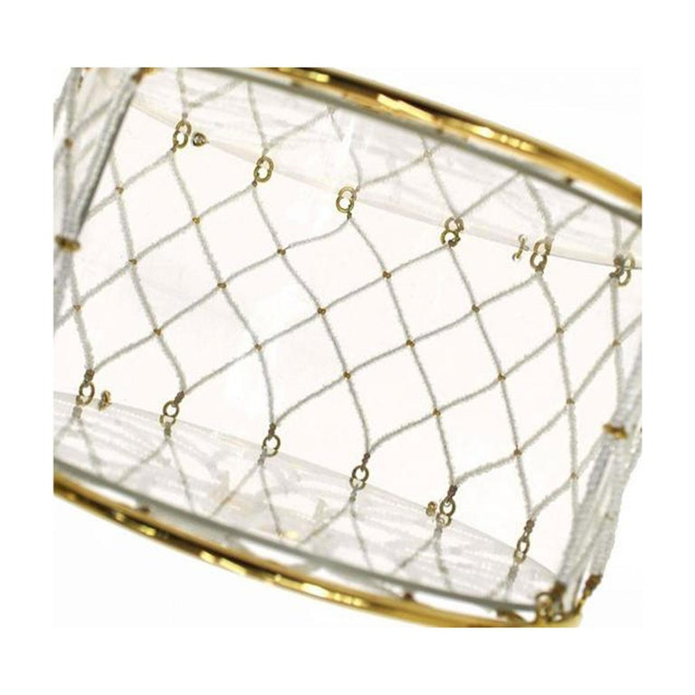 Chanel Minaudière Ultra Rare 1990 Beaded Metal Transparent Vinyl Clutch In Excellent Condition For Sale In Miami, FL