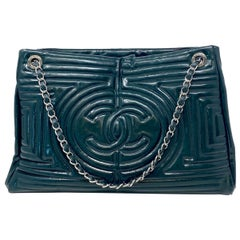 Chanel Ming Coco Green Patent Leather Shoulder Bag