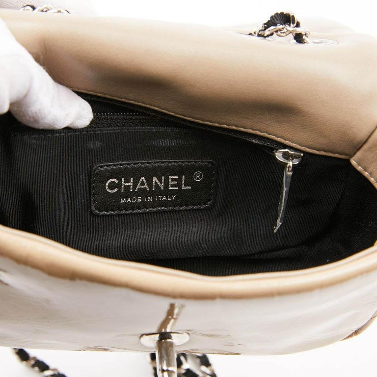 CHANEL Mini Bag in Beige Breaded Leather with Quilted Effect For Sale 7