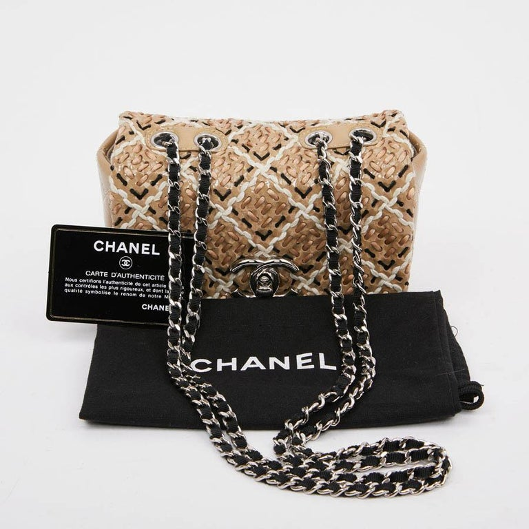 CHANEL Mini Bag in Beige Breaded Leather with Quilted Effect For Sale 9