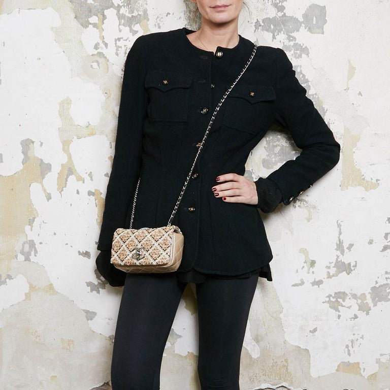 CHANEL Mini Bag in Beige Breaded Leather with Quilted Effect In Excellent Condition For Sale In Paris, FR