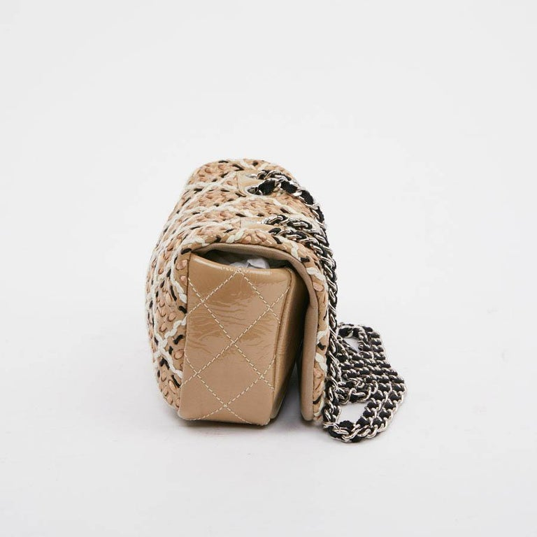 Women's CHANEL Mini Bag in Beige Breaded Leather with Quilted Effect For Sale