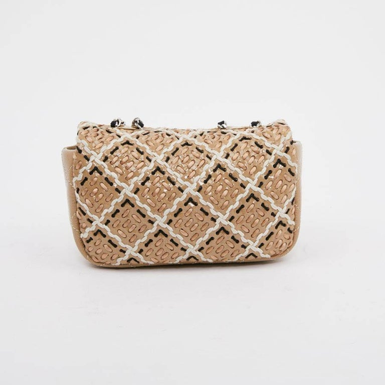 CHANEL Mini Bag in Beige Breaded Leather with Quilted Effect For Sale 1