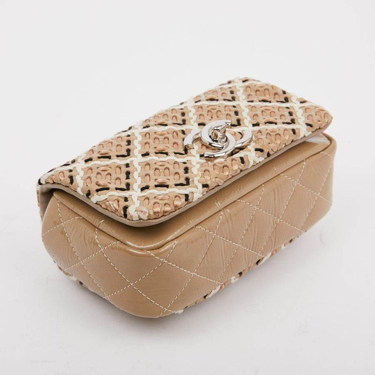 CHANEL Mini Bag in Beige Breaded Leather with Quilted Effect For Sale 3