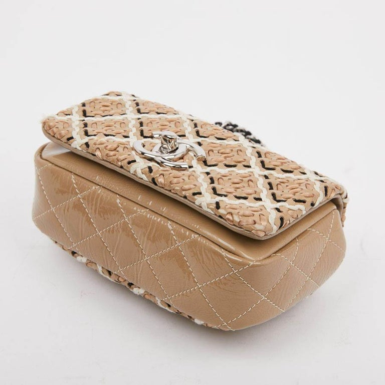 CHANEL Mini Bag in Beige Breaded Leather with Quilted Effect For Sale 4