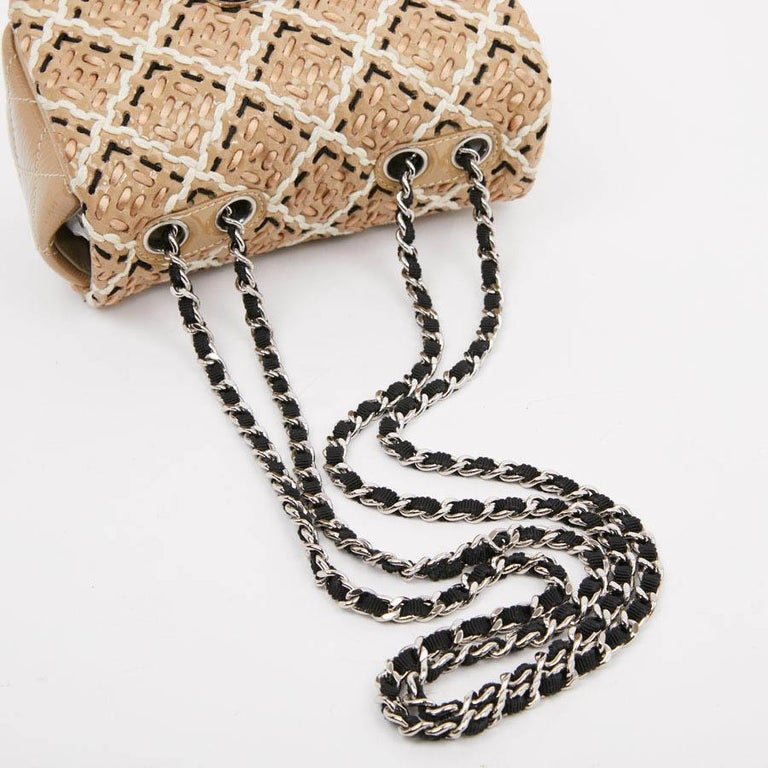 CHANEL Mini Bag in Beige Breaded Leather with Quilted Effect For Sale 5