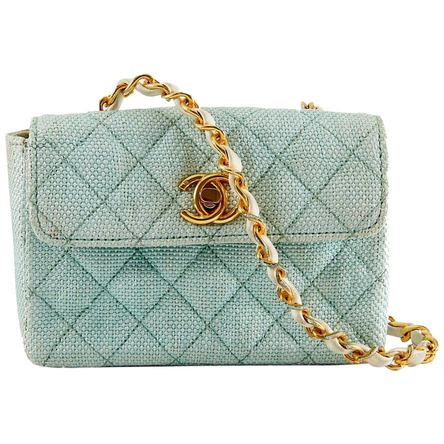 CHANEL Mini Bag in Sky Blue Straw Effect Cotton Fabric
