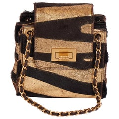 Chanel Mini Black/Gold Zebra Pony Hair Bag
