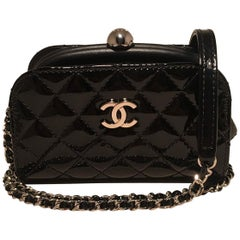 Chanel Mini Black Patent Leather Kiss lock Shoulder Bag