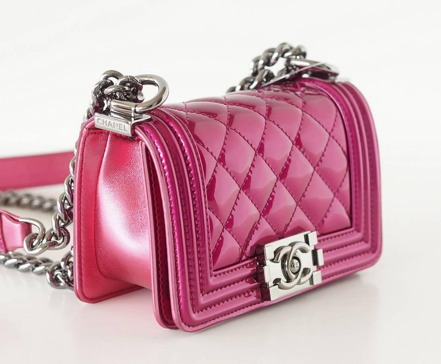 00c4b5d91607d3 Chanel Mini Boy Metallic Patent Fuchsia Crossbody Bag at 1stdibs