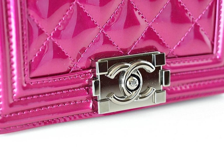 2421e706d529cc Pink Chanel Mini Boy Metallic Patent Fuchsia Crossbody Bag For Sale