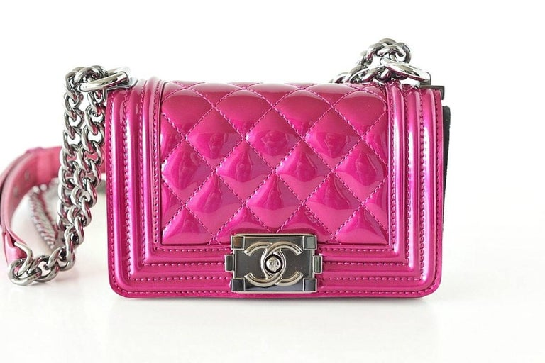8b90aaee987dc0 Chanel Mini Boy Metallic Patent Fuchsia Crossbody Bag For Sale 3