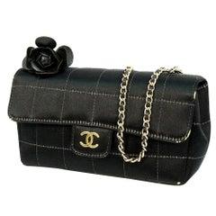 CHANEL Mini chain Chocolate bar coco mark Womens shoulder bag black x gold hardw