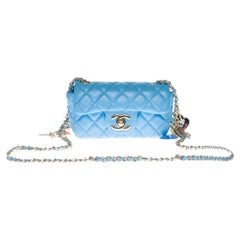 Chanel Mini Charms Shoulder bag in Blue quilted leather and silver hardware