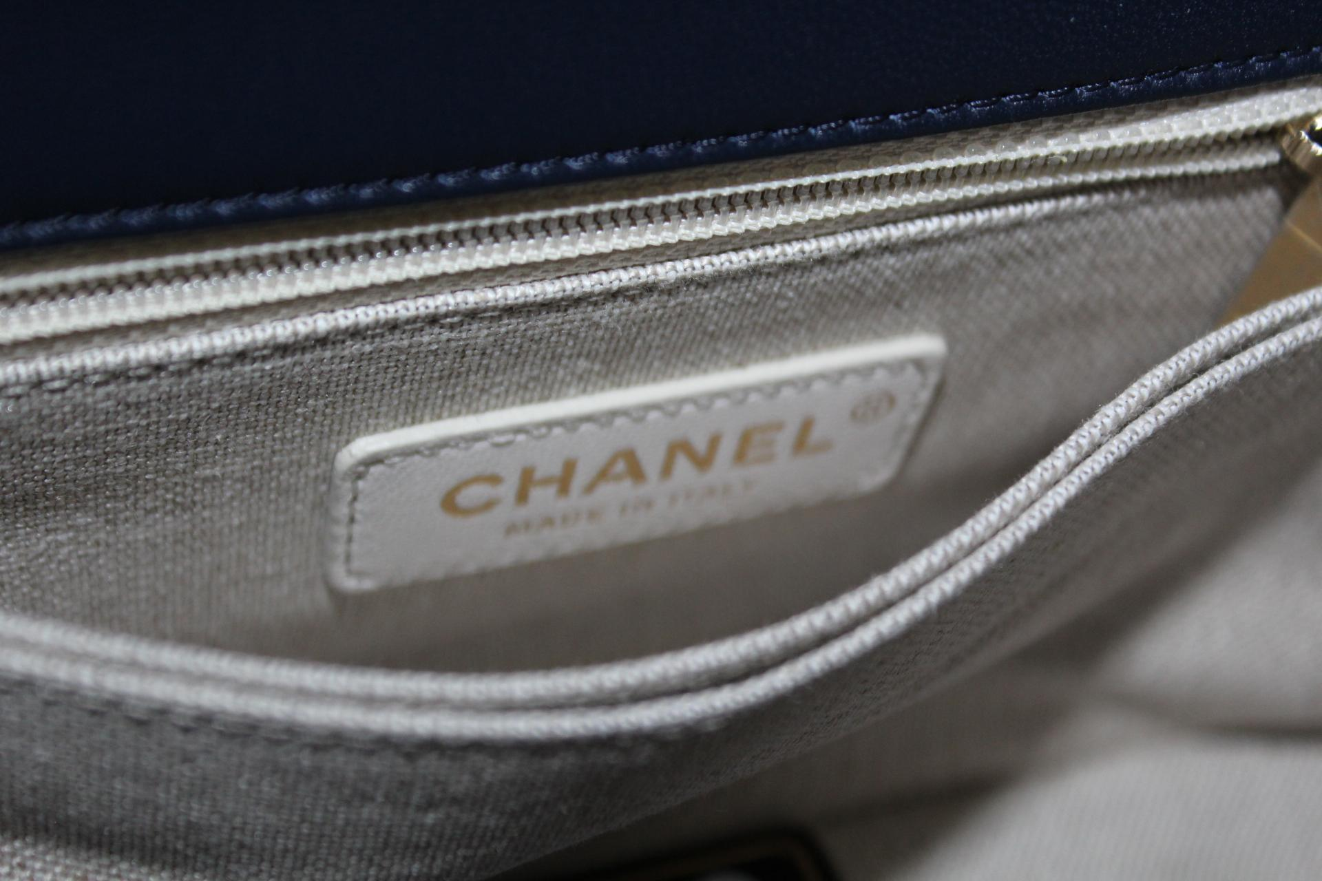 20c91b2587bc Chanel Mini Coco in Blue Tweed Top Handle Bag For Sale at 1stdibs