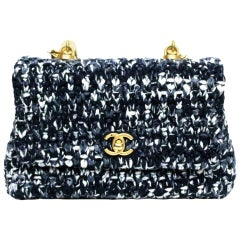 Chanel Mini Coco in Blue Tweed Top Handle Bag