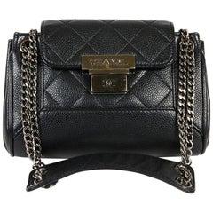 CHANEL Mini Flap Bag in Black Caviar Leather