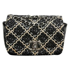 CHANEL Mini Flap Bag in Black Patent Braided Leather