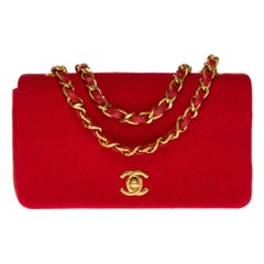 Chanel Mini Full Flap Shoulder bag in red quilted leather and jersey, GHW
