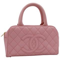 Chanel Mini Handbag  Boston  Quilted Pink Caviar Leather